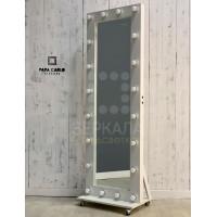 Гримерное зеркало с подсветкой 180х60 см на подставке с колесами